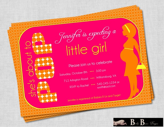 She's About to Pop (Pink, Orange & Yellow) Baby Shower Invitation
