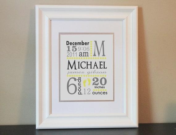 Baby Nursery Name Art Boy (Yellow & Gray)- 8x10 Personalized Print