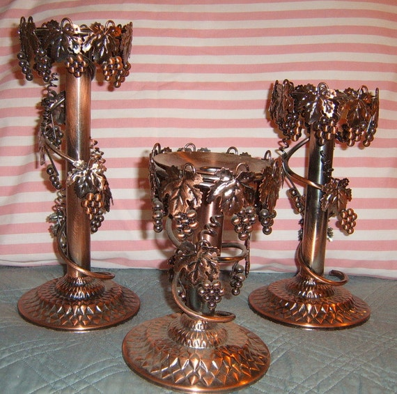 Upcycled,  Candle Holders, Copper Colored, Metal candle holder,,Vineyard Design, Grape Design
