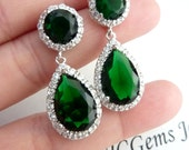 Angelina Jolie Inspired Halo Emerald Green Pear Shaped Cubic Zirconia (Clear Back) with Round Post White Gold Plated Earrings