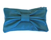 Turquoise Leather Mini Bow Clutch
