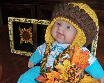 Crocheted Acorn shaped Flapper baby beanie