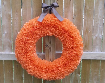 Fall Wreath - Autumn Wreath - Orange Wreath - Halloween Wreath - Door Wreath - Outdoor Wreath - Pumpkin Wreath - Large Wreath