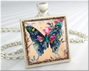 Butterfly Art Necklace Pendant Blue Pink Butterfly Jewelry Resin Picture Charm (075SS)