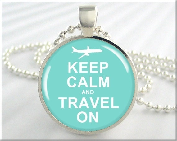 Keep Calm Pendant Charm Turquoise Airline Air Travel Jewelry Necklace (305RS)