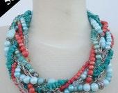 ON SALE - Statement Necklace - OLINA - Hawaii PanAm Handmade Bold Chunky Multi-Strand Beaded Braided Necklace