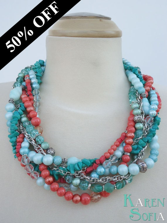 ON SALE - Statement Necklace - OLINA - Hawaii PanAm Handmade Bold Chunky Multi-Strand Beaded Braided Necklace