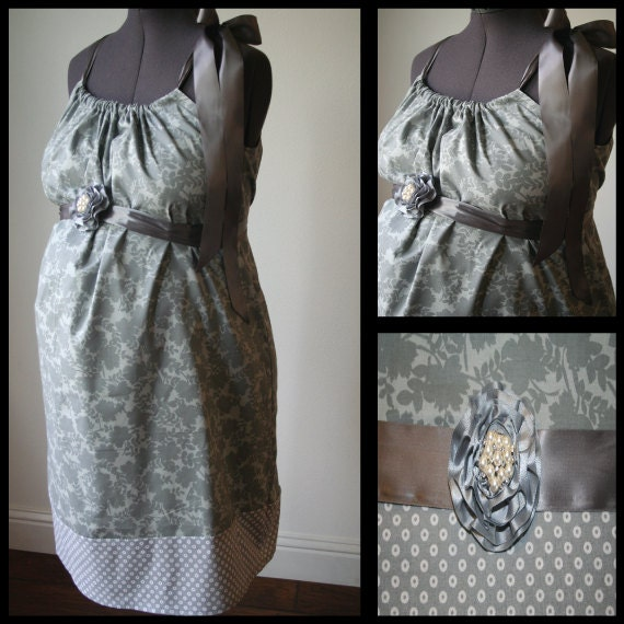 Maternity Hospital Gown -Gray Floral, Polka Dot Band. Removable Pearl and Rhinestoned Flower Broach (Can be worn in Hair too)