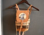 vintage 70s BOHO AFRICAN leather woven mini backpack with zebra patch