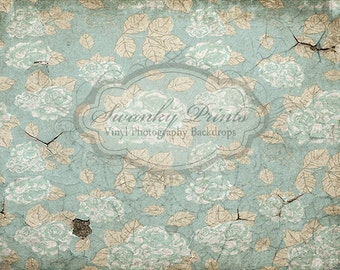 4ft x 3ft Vinyl Photography Backdrop / Floral Cracking Concrete /  Shabby Chic