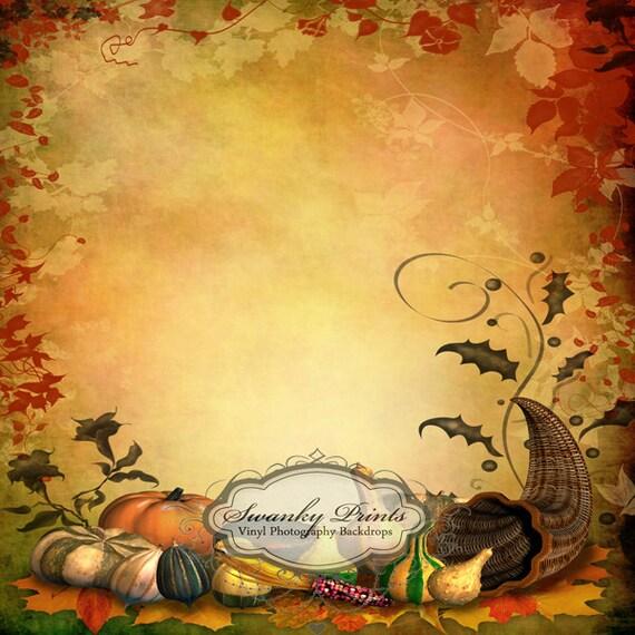 NEW ITEM 5ft x 5ft Vinyl Photography Backdrop / Custom Photography Prop / Autumn / Halloween / Pumpkins and Gords
