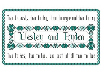 cross stitch pattern, Twins baby name sampler with poem, personalize with any name