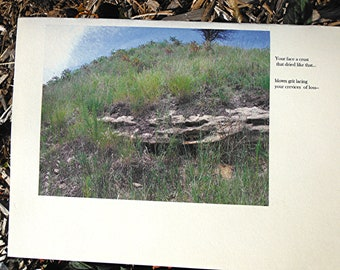 Encouragement cards landscape photo card limestone cliff on hilltop with blue sky