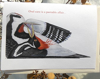 Humorous Card Oral Hygiene with Woodpeckers Dental Art Congratulations or Invitation to Good Health