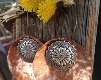 Beautiful Large Copper and Silver Western Conch Hoop Earrings. Great bridesmaids gift.