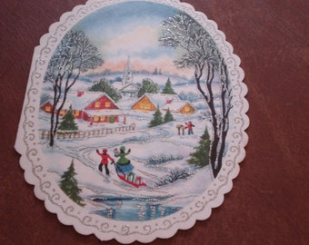 Vintage Holiday Scence with silver sparkles Christmas Presents, Round Card