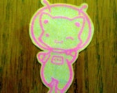 Handmade Kawaii Vinyl Stickers - Astro Kitty Pink