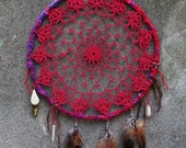 masticapute. handmade vintage lace doily dream catcher in rich raspberry