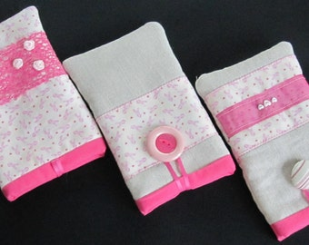 Pink pouch with rose trimmings - Breast Cancer charity - mobile cell phone or gadget