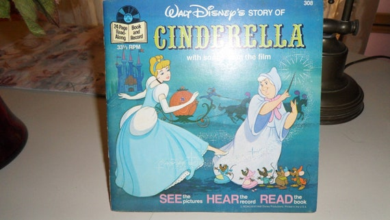 Cinderella Walt Disney Read along Book with Vinyl 45 Record 1977  Fairy Tale Children's Book and Record