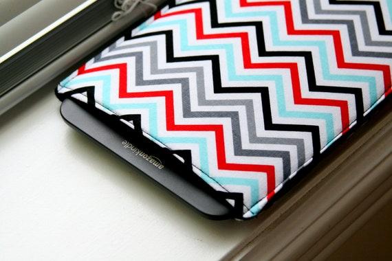 Kindle Case / Kindle Cover / Kindle Sleeve /  Kindle Fire / Kindle Touch / Kindle Paperwhite / iPad Mini - Blue Red Chevron