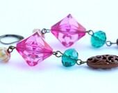 Pink, Teal, Brown Dangle Earrings