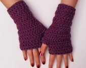 Chunky Pinky Purple Fingerless Crochet Wristwarmers Gloves