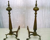 andirons fire dogs claw feet brass signed Sheffield NY antique