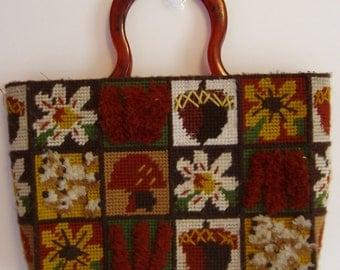 70's Vintage plastic canvas needlepoint lined handbag