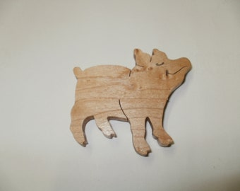 pig  fridge magnet wood maple scroll saw