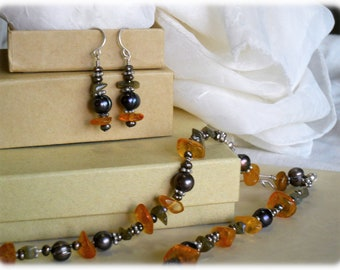 Amber, Pearl, Labradorite, and Sterling Silver, Beaded Dangle Earrings