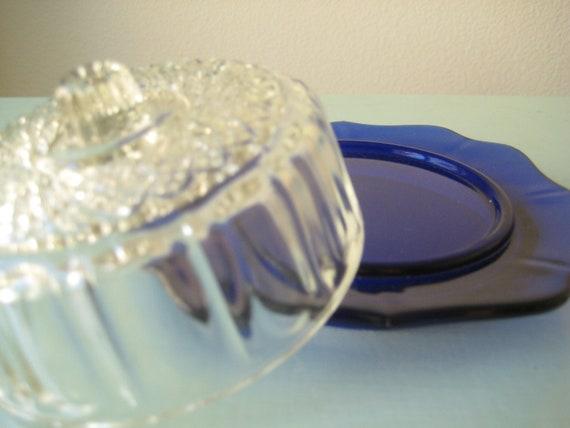 Cobalt Blue Vintage Butter Dish/ Blue Butter Plate/ Vintage Butter Serving Dish