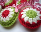 Crocheted Christmas ornaments set of 5 red green creme