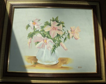 Vintage Original Oil Painting of A  Still Life of Bouquet of Pink Polynesian Style Flowers, by  The Artist NINA, Outsider Art Work Style