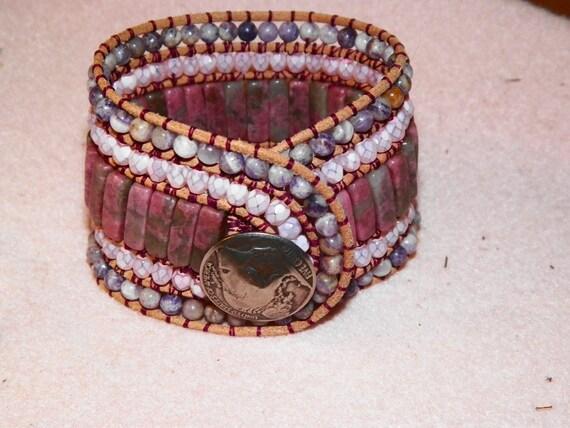 Leather Wrapped 5 Five Row Cuff Beaded  Bracelet Bohemian SouthWestern