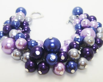 Pearl Bracelet, Navy, Gray  and Purple Cluster Bracelet, Blue Chunky Bracelet, Cluster Bracelet, Bridal Bracelet, Pearl Bridal Bracelet,