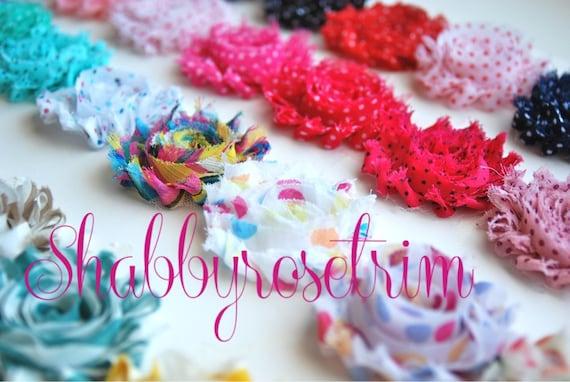 SALE - 15 Yards Chiffon Flower Prints Shabby Rose Trim - You choose the colors