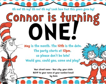 Dr. Suess Birthday Party Kit - Invitation & Book Sign
