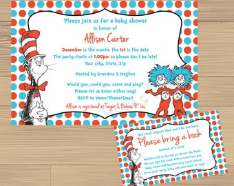 Custom Made Dr. Suess Baby Shower Invitation and FREE Insert
