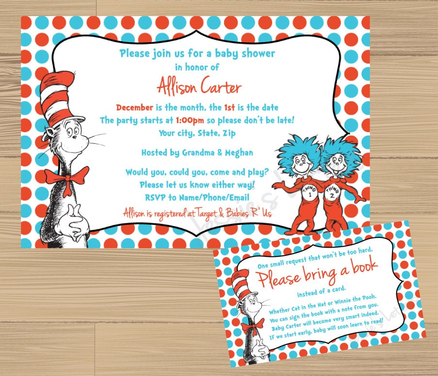 custom made dr suess baby shower invitation and free insert