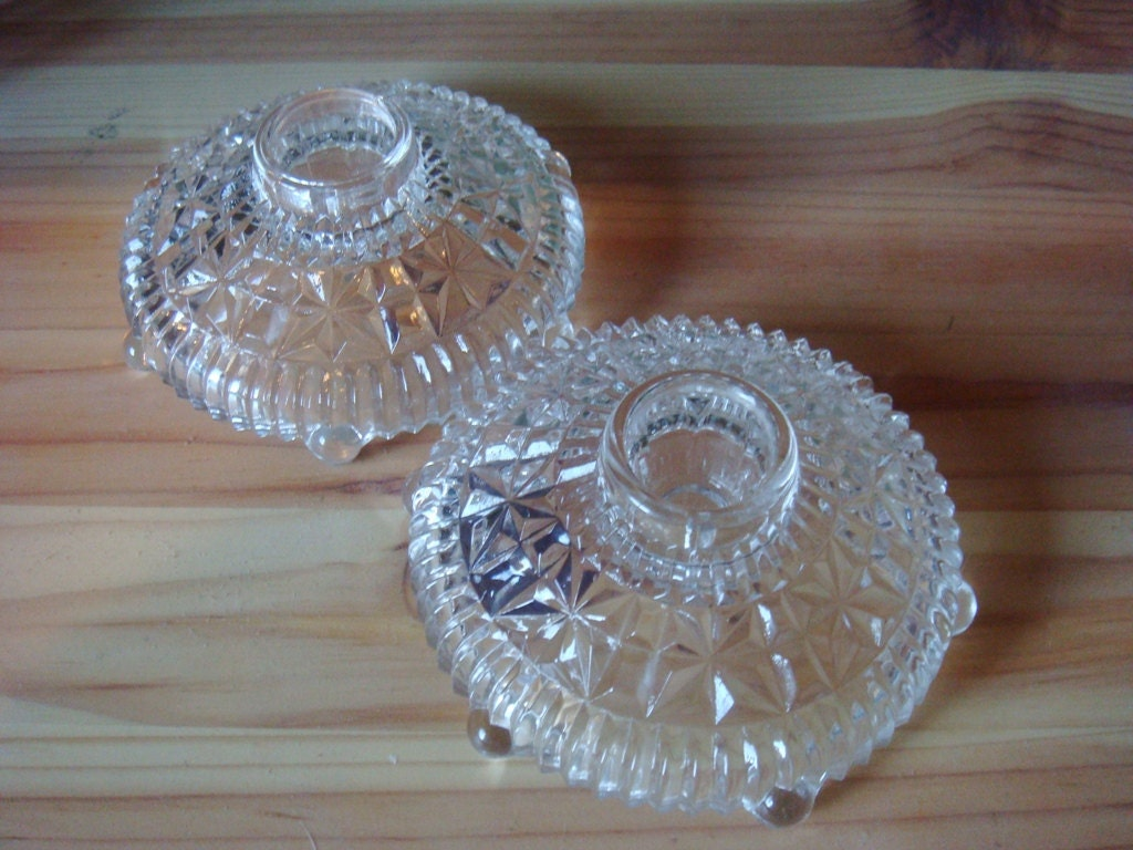 Antique Vintage Cut Glass Candle Holders Set Of 2