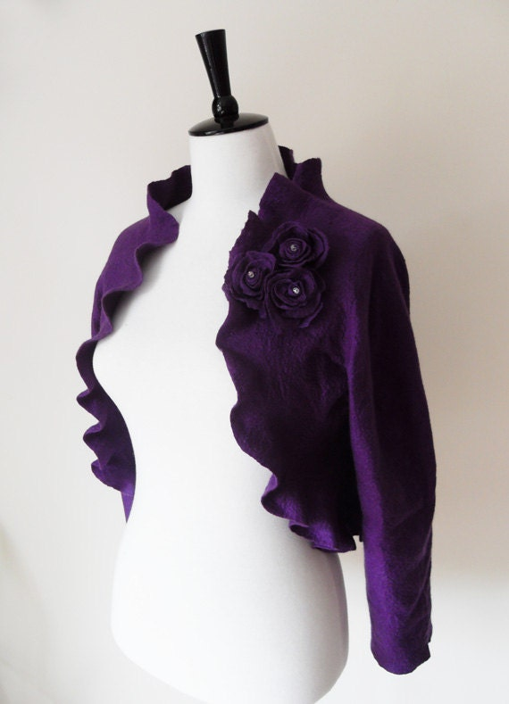 Bridal Jacket Bolero Shrug Wedding Jacket Wool and Silk Felted with Rose Flowers Plum Amethyst  Eggplant