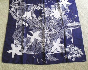 Scarf Silk Signed Claiborne Navy and White Floral SALE
