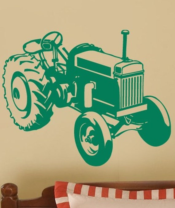 BIG GREEN Farm TRACTOR Boys Room Vinyl Wall Lettering Decal Large size options
