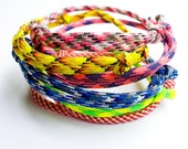 Paracord Bracelets - Set of 3 - Adjustable Knot  Colorful Bracelets Rope Neon