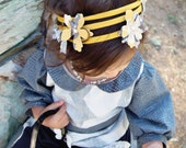 Handmade Vintage Yellow Headband with Shades of Grey Yellow and White Flowers