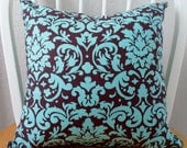 Pillow Cover 16x16in Chocolate and Turquoise Damask Pattern