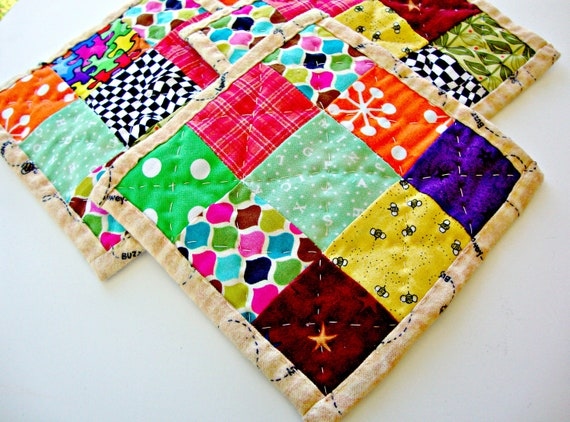 Coasters - Quilted Coasters- Modern Colorful Coasters