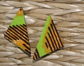 Stud Earrings - Triangle Fabric Covered Wood Earrings