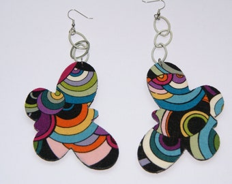 Groovy Butterfly 2- Fabric Covered Wood Earrings